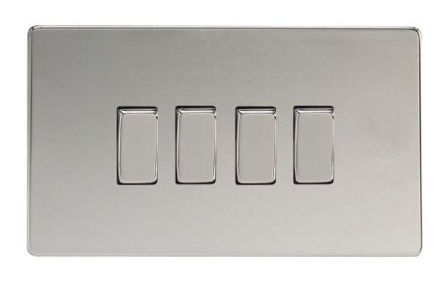 Varilight XDC9S Screwless Polished Chrome 4 Gang 10A 1 or 2 Way Rocker Light Switch